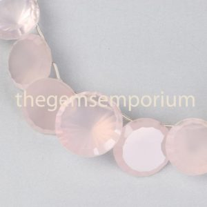 Shop Rose Quartz Faceted Beads! Rose Quartz Concave Cut Round Shape Beads, Rose Quartz Round Shape Beads Side Drill, Rose Quartz Fancy Cut Faceted Round Shape Beads | Natural genuine faceted Rose Quartz beads for beading and jewelry making.  #jewelry #beads #beadedjewelry #diyjewelry #jewelrymaking #beadstore #beading #affiliate #ad