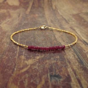 Genuine Ruby Bracelet, July Birthstone Bracelet, Ruby Bracelets for Women, Gift for Women, Gold Beaded Bracelets, July Birthstone Jewelry | Natural genuine Ruby bracelets. Buy crystal jewelry, handmade handcrafted artisan jewelry for women.  Unique handmade gift ideas. #jewelry #beadedbracelets #beadedjewelry #gift #shopping #handmadejewelry #fashion #style #product #bracelets #affiliate #ad