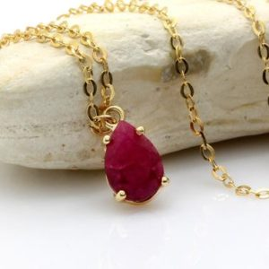 Shop Ruby Jewelry! gold ruby necklace,July birthstone pendant,gemstone necklace,teardrop pendant,bridal necklace,bridesmaid gifts | Natural genuine Ruby jewelry. Buy handcrafted artisan wedding jewelry.  Unique handmade bridal jewelry gift ideas. #jewelry #beadedjewelry #gift #crystaljewelry #shopping #handmadejewelry #wedding #bridal #jewelry #affiliate #ad