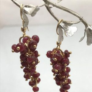 Shop Ruby Round Beads! Ruby Dyed Round Grapes Beads Earrings, Red Beads, Brass Hook, Gemstone Earrings, Semiprecious Stone Beads | Natural genuine round Ruby beads for beading and jewelry making.  #jewelry #beads #beadedjewelry #diyjewelry #jewelrymaking #beadstore #beading #affiliate #ad