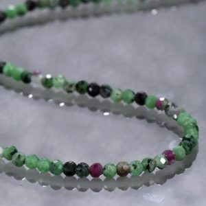Shop Ruby Zoisite Jewelry! Ruby zoisite necklace beaded necklace semi precious gemstone necklace,valentine gift for her,anniversary gift zoisite faceted beads necklace | Natural genuine Ruby Zoisite jewelry. Buy crystal jewelry, handmade handcrafted artisan jewelry for women.  Unique handmade gift ideas. #jewelry #beadedjewelry #beadedjewelry #gift #shopping #handmadejewelry #fashion #style #product #jewelry #affiliate #ad