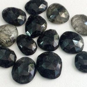 Shop Rutilated Quartz Cabochons! 12-20mm Black Rutile Quartz Rose Cut Cabochon, Black Rutile Rose Cut Flat Back Cabochons, Rutile Faceted Gems For Jewelry – KS176 | Natural genuine stones & crystals in various shapes & sizes. Buy raw cut, tumbled, or polished gemstones for making jewelry or crystal healing energy vibration raising reiki stones. #crystals #gemstones #crystalhealing #crystalsandgemstones #energyhealing #affiliate #ad