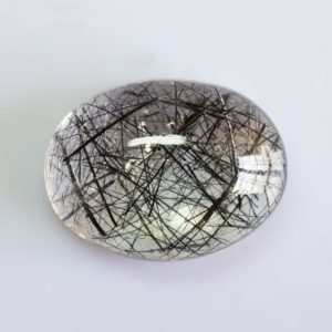 Shop Rutilated Quartz Cabochons! 32.71 cts Natural Black Rutilated Quartz 27×19.5×4.20 mm Cabochon Oval Loose Gemstone – 100% Natural Rutilated Quartz Gemstone – QZBLK-1009   Natural genuine stones & crystals in various shapes & sizes. Buy raw cut, tumbled, or polished gemstones for making jewelry or crystal healing energy vibration raising reiki stones. #crystals #gemstones #crystalhealing #crystalsandgemstones #energyhealing #affiliate #ad