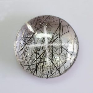 Shop Rutilated Quartz Cabochons! 5.57 cts Natural Black Rutilated Quartz 12x12x5.4 mm Cabochon Round Loose Gemstone – Natural Rutilated Quartz – Rutilated Quartz -RLBLK-1009 | Natural genuine stones & crystals in various shapes & sizes. Buy raw cut, tumbled, or polished gemstones for making jewelry or crystal healing energy vibration raising reiki stones. #crystals #gemstones #crystalhealing #crystalsandgemstones #energyhealing #affiliate #ad
