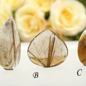 Shop Rutilated Quartz Cabochons! Rutile Quartz cabochon (ETC00003) Unique jewelry/Vintage jewelry/Gemstone cabochon | Natural genuine stones & crystals in various shapes & sizes. Buy raw cut, tumbled, or polished gemstones for making jewelry or crystal healing energy vibration raising reiki stones. #crystals #gemstones #crystalhealing #crystalsandgemstones #energyhealing #affiliate #ad