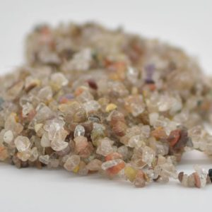 """Shop Rutilated Quartz Chip & Nugget Beads! High Quality Grade A Natural Mixed Rutilated Quartz Semi-precious Gemstone Chips Nuggets Beads – 5mm – 8mm, approx 36"""" Strand 