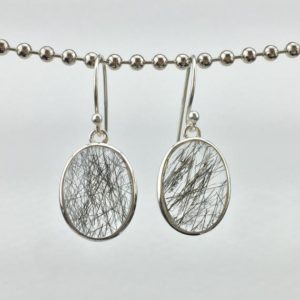 Shop Rutilated Quartz Earrings! Dramatic Black Rutile Quartz and Sterling Silver Dangle Earrings | Natural genuine Rutilated Quartz earrings. Buy crystal jewelry, handmade handcrafted artisan jewelry for women.  Unique handmade gift ideas. #jewelry #beadedearrings #beadedjewelry #gift #shopping #handmadejewelry #fashion #style #product #earrings #affiliate #ad