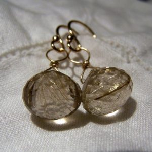 Shop Rutilated Quartz Earrings! Gold Rutilated Quartz, 14K solid Gold earrings | Natural genuine Rutilated Quartz earrings. Buy crystal jewelry, handmade handcrafted artisan jewelry for women.  Unique handmade gift ideas. #jewelry #beadedearrings #beadedjewelry #gift #shopping #handmadejewelry #fashion #style #product #earrings #affiliate #ad