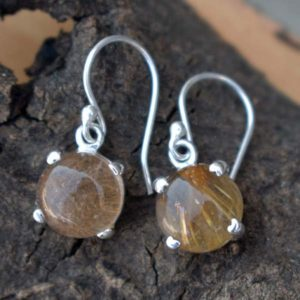 Shop Rutilated Quartz Earrings! Golden Rutile Quartz Earrrings,Yellow Rutile Earrings,Solid 925 Sterling Silver Hook Earrings,Rutilated Quartz Earrings,November birthstone | Natural genuine Rutilated Quartz earrings. Buy crystal jewelry, handmade handcrafted artisan jewelry for women.  Unique handmade gift ideas. #jewelry #beadedearrings #beadedjewelry #gift #shopping #handmadejewelry #fashion #style #product #earrings #affiliate #ad