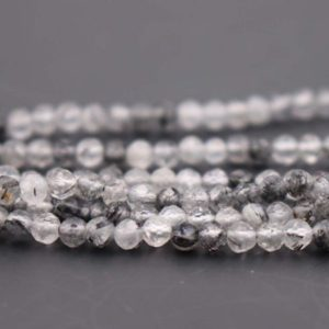 Shop Rutilated Quartz Faceted Beads! 3mm Natural Black Rutile Quartz Faceted Small Size Beads,3mm Small Size Beads Wholesale Bulk supply,15 inches one starand | Natural genuine faceted Rutilated Quartz beads for beading and jewelry making.  #jewelry #beads #beadedjewelry #diyjewelry #jewelrymaking #beadstore #beading #affiliate #ad
