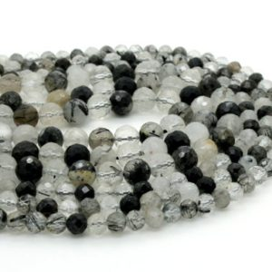 Shop Rutilated Quartz Faceted Beads! Black Hair Tourmaline Quartz, Black Hair Rutilated Quartz Faceted Round Ball Sphere Natural Gemstone Beads – RNF96 | Natural genuine faceted Rutilated Quartz beads for beading and jewelry making.  #jewelry #beads #beadedjewelry #diyjewelry #jewelrymaking #beadstore #beading #affiliate #ad