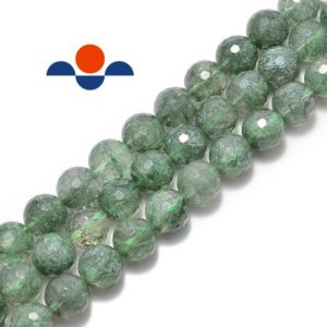 Shop Rutilated Quartz Faceted Beads! Green Rutilated Quartz Faceted Round Beads 4mm 6mm 8mm 10mm 12mm 15.5'' Strand | Natural genuine faceted Rutilated Quartz beads for beading and jewelry making.  #jewelry #beads #beadedjewelry #diyjewelry #jewelrymaking #beadstore #beading #affiliate #ad