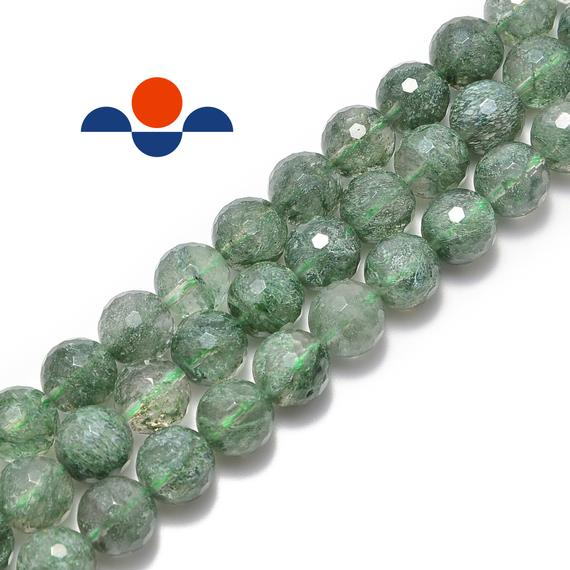 Green Rutilated Quartz Faceted Round Beads 4mm 6mm 8mm 10mm 12mm 15.5'' Strand