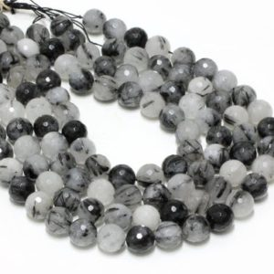 Shop Rutilated Quartz Faceted Beads! GU-0388-4 – Natural Black Rutilated Quartz Faceted Round Gemstone Beads – 14mm – Full Strand – 16"