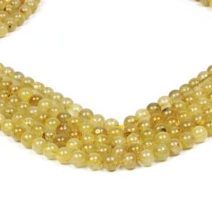 "Shop Rutilated Quartz Bead Shapes! Gold quartz beads,rutilated quartz beads,gemstone beads,semiprecious stones,genuine stone beads,diy craft supplies  – 16"" Full Strand 