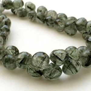 Shop Rutilated Quartz Bead Shapes! 7-8mm Green Rutile Quartz Briolettes, Green Rutiliated Quartz Faceted Onion Beads, Green Rutile For Jewelry (4IN To 8IN Options) – KRS227 | Natural genuine other-shape Rutilated Quartz beads for beading and jewelry making.  #jewelry #beads #beadedjewelry #diyjewelry #jewelrymaking #beadstore #beading #affiliate #ad