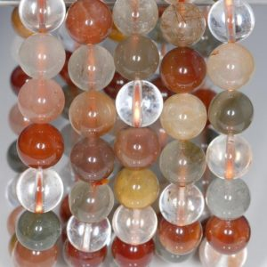 Shop Rutilated Quartz Round Beads! 7-8mm Rainbow Rutilated Quartz Gemstone Garde AA Round Loose Beads 7 inch Half Strand (80001623-145) | Natural genuine round Rutilated Quartz beads for beading and jewelry making.  #jewelry #beads #beadedjewelry #diyjewelry #jewelrymaking #beadstore #beading #affiliate #ad
