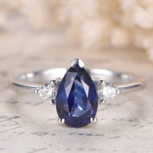 Blue Sapphire Engagement Ring 14K White Gold Diamond Wedding Ring 5.5×8.5mm Pear Cut Lab-treated Blue Sapphire Ring Plain Band Diamond Ring | Natural genuine Array rings, simple unique alternative gemstone engagement rings. #rings #jewelry #bridal #wedding #jewelryaccessories #engagementrings #weddingideas #affiliate #ad
