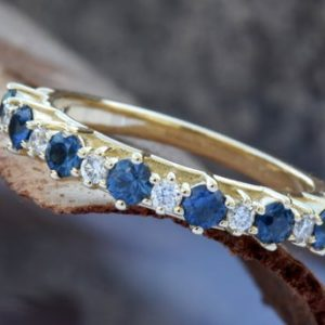 Shop Unique Sapphire Engagement Rings! Sapphire eternity band-Blue sapphire engagement ring-Blue sapphire band-14K Yellow Gold Ring-Women Jewelry-Anniversary ring-Multistones ring | Natural genuine Sapphire rings, simple unique alternative gemstone engagement rings. #rings #jewelry #bridal #wedding #jewelryaccessories #engagementrings #weddingideas #affiliate #ad