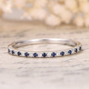 Shop Sapphire Rings! Sapphire Wedding Band Half Eternity Band Sapphire Engagement Ring Sapphire and Diamond Pave Wedding Band Diamond Wedding Ring 14k White Gold | Natural genuine Sapphire rings, simple unique alternative gemstone engagement rings. #rings #jewelry #bridal #wedding #jewelryaccessories #engagementrings #weddingideas #affiliate #ad