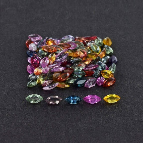 5x2.5x1.7 Mm Natural Multi Sapphire Faceted Marquise Loose Gemstone - 100% Natural Multi Sapphire Gemstone - Sapphire Gemstone - Samlt-1013
