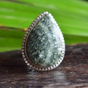 Shop Seraphinite Rings! 925 silver natural seraphinite ring-green seraphinite ring-silver ring-ring for women-seraphinite design ring-seraphinite ring   Natural genuine Seraphinite rings, simple unique handcrafted gemstone rings. #rings #jewelry #shopping #gift #handmade #fashion #style #affiliate #ad