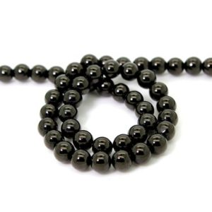 Shop Shungite Beads! Natural Shungite, Smooth Round Shungite Gemstone Loose Beads with coating – RN120 | Natural genuine round Shungite beads for beading and jewelry making.  #jewelry #beads #beadedjewelry #diyjewelry #jewelrymaking #beadstore #beading #affiliate #ad