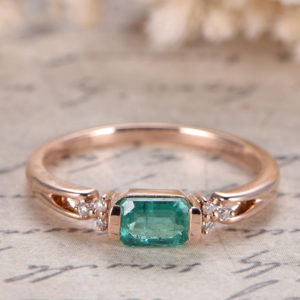 SI Natural Emerald Engagement Ring 14K Rose Gold Bridal Ring May Birthstone Ring Plain Band Diamond Wedding Ring Deco 3.5×5.5mm Emerald Ring | Natural genuine Gemstone rings, simple unique alternative gemstone engagement rings. #rings #jewelry #bridal #wedding #jewelryaccessories #engagementrings #weddingideas #affiliate #ad
