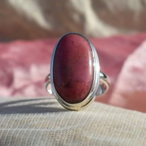 Shop Rhodonite Rings! Simple Rhodonite Ring, 925 Sterling Silver, Oval Shape, Red Color Stone, Simple Band Ring, Bezel Set, Can Be Personalized, Made For Her | Natural genuine Rhodonite rings, simple unique handcrafted gemstone rings. #rings #jewelry #shopping #gift #handmade #fashion #style #affiliate #ad