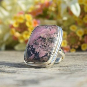 Shop Rhodonite Rings! Simple Rhodonite Ring, 925 Sterling Silver, Cushion Gemstone Ring, Silver Gemstone Ring, Can Be Personalized, made For Her, Rings On Sale | Natural genuine Rhodonite rings, simple unique handcrafted gemstone rings. #rings #jewelry #shopping #gift #handmade #fashion #style #affiliate #ad