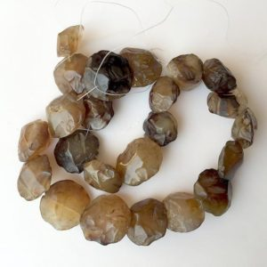 Shop Smoky Quartz Beads! Raw Smoky Quartz Beads, Natural Hammered Rough Gemstone Beads, 18-22mm Approx, 14 Inch Strand, SKU-Rg25 | Natural genuine beads Smoky Quartz beads for beading and jewelry making.  #jewelry #beads #beadedjewelry #diyjewelry #jewelrymaking #beadstore #beading #affiliate #ad