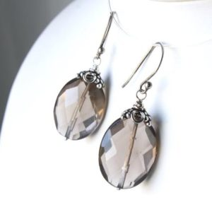 Shop Smoky Quartz Earrings! Smokey Quartz Sterling Silver Earrings natural gemstone bohemian statement oval dangle drops birthday anniversary mothers day gift 5954 | Natural genuine Smoky Quartz earrings. Buy crystal jewelry, handmade handcrafted artisan jewelry for women.  Unique handmade gift ideas. #jewelry #beadedearrings #beadedjewelry #gift #shopping #handmadejewelry #fashion #style #product #earrings #affiliate #ad