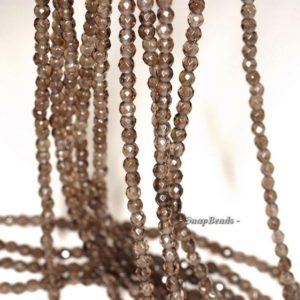 Shop Smoky Quartz Faceted Beads! 3mm Smoky Quartz Gemstone Grade AAA Brown Micro Faceted Round Loose Beads 16 inch Full Strand (90148182-107) | Natural genuine faceted Smoky Quartz beads for beading and jewelry making.  #jewelry #beads #beadedjewelry #diyjewelry #jewelrymaking #beadstore #beading #affiliate #ad