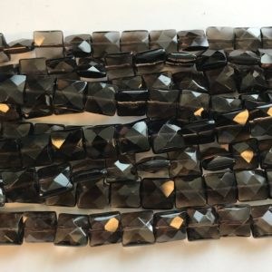 "Shop Smoky Quartz Faceted Beads! Natural  smoky quartz 8x4mm,10x5mm faceted square Gemstone Beads—15.5""–1 strand/3 strands 