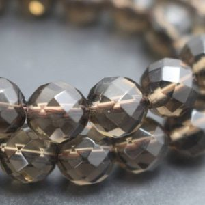 Shop Smoky Quartz Faceted Beads! Natural Smoky Quartz Beads, 64 Faceted Smoky Quartz Beads, 15 Inches One Starand | Natural genuine faceted Smoky Quartz beads for beading and jewelry making.  #jewelry #beads #beadedjewelry #diyjewelry #jewelrymaking #beadstore #beading #affiliate #ad