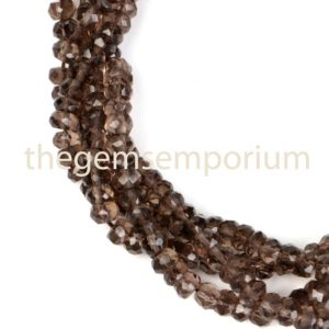 Shop Smoky Quartz Faceted Beads! Smoky Quartz Faceted Rondelle Indian Cut, Faceted Rondelle Gemstone Beads, faceted Indian Cut Natural Gemstone Beads, AAA Quality | Natural genuine faceted Smoky Quartz beads for beading and jewelry making.  #jewelry #beads #beadedjewelry #diyjewelry #jewelrymaking #beadstore #beading #affiliate #ad