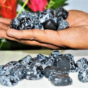 Shop Snowflake Obsidian Stones & Crystals! Rare Black Snowflake Obsidian Stone of Self 100 Gr Metaphysical Healing Tumbled Pebbles | Natural genuine stones & crystals in various shapes & sizes. Buy raw cut, tumbled, or polished gemstones for making jewelry or crystal healing energy vibration raising reiki stones. #crystals #gemstones #crystalhealing #crystalsandgemstones #energyhealing #affiliate #ad