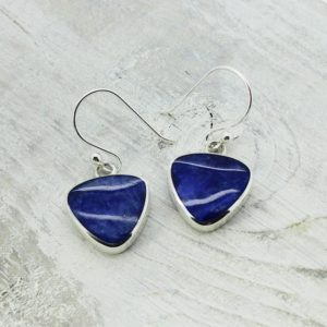 Shop Sodalite Earrings! Amazing blue Sodalite stone triangle dangle earrings 925 sterling silver natural Sodalite stone dangling indigo color natural blue stone | Natural genuine Sodalite earrings. Buy crystal jewelry, handmade handcrafted artisan jewelry for women.  Unique handmade gift ideas. #jewelry #beadedearrings #beadedjewelry #gift #shopping #handmadejewelry #fashion #style #product #earrings #affiliate #ad