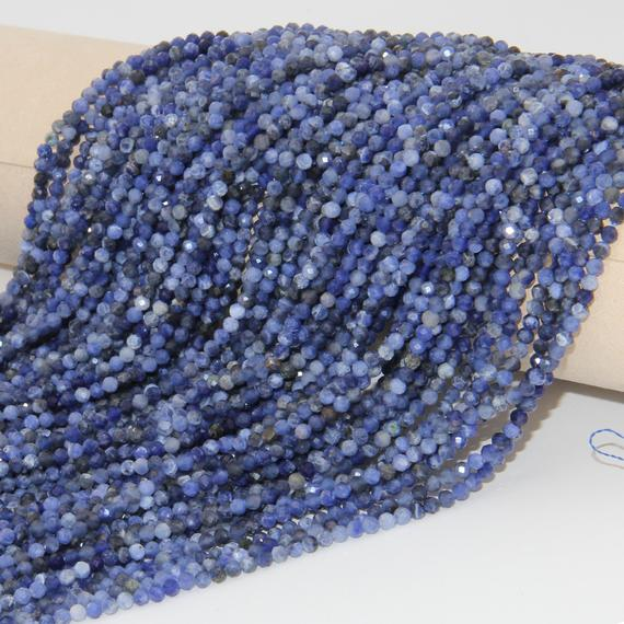 Full 15.3 Inch Strand Beads,natural Sodalite Faceted Round Beads,loose Gemstone Beads,2mm 3mm 4mm Semi Precious Beads,string Genuine Beads.