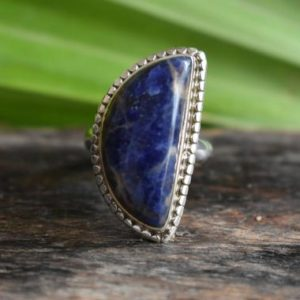 Shop Sodalite Rings! 925 silver natural sodalite ring-blue sodalite ring-sodalite gemstone ring-drop shape ring-sodalite ring-sodalite design ring   Natural genuine Sodalite rings, simple unique handcrafted gemstone rings. #rings #jewelry #shopping #gift #handmade #fashion #style #affiliate #ad