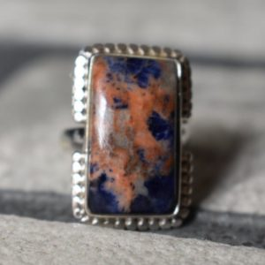 Shop Sodalite Rings! 925 silver natural sodalite ring-blue sodalite ring-sodalite gemstone ring-square shape ring-sodalite ring-sodalite ring   Natural genuine Sodalite rings, simple unique handcrafted gemstone rings. #rings #jewelry #shopping #gift #handmade #fashion #style #affiliate #ad