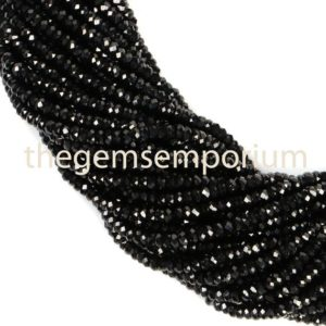 Shop Spinel Faceted Beads! Black Spinel Faceted Rondelle Beads, Black Spinel Faceted Beads, Black Spinel Rondelle Beads, Black Spinel Beads, Black Spinel  ,(2.25mm) | Natural genuine faceted Spinel beads for beading and jewelry making.  #jewelry #beads #beadedjewelry #diyjewelry #jewelrymaking #beadstore #beading #affiliate #ad