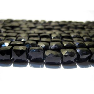 6mm Black Spinel Cube Beads, Natural Black Spinel Faceted Box Beads, Black Spinel For Necklace, Black Spinel Box Beads (4IN To 8IN Options) | Natural genuine other-shape Spinel beads for beading and jewelry making.  #jewelry #beads #beadedjewelry #diyjewelry #jewelrymaking #beadstore #beading #affiliate #ad