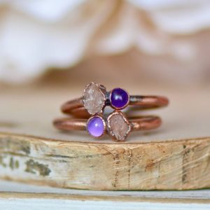 Shop Sunstone Rings! Sunstone Amethyst Ring, Raw Gemstone Ring, Multi Stone Ring, Electroformed Ring, Boho Jewelry, Bridal Gift, Stacking Ring, Minimal Jewelry | Natural genuine Sunstone rings, simple unique alternative gemstone engagement rings. #rings #jewelry #bridal #wedding #jewelryaccessories #engagementrings #weddingideas #affiliate #ad