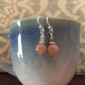 Shop Sunstone Earrings! Sunstone Earrings/ sunstone moonstone/ sunstone and labradorite Earrings/ gemstone earrings/ smooth sunstone and peach moonstone earrings | Natural genuine Sunstone earrings. Buy crystal jewelry, handmade handcrafted artisan jewelry for women.  Unique handmade gift ideas. #jewelry #beadedearrings #beadedjewelry #gift #shopping #handmadejewelry #fashion #style #product #earrings #affiliate #ad