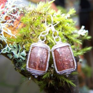 Shop Sunstone Earrings! Sunstone rectangle, sterling silver wrap, hook style earwire earrings | Natural genuine Sunstone earrings. Buy crystal jewelry, handmade handcrafted artisan jewelry for women.  Unique handmade gift ideas. #jewelry #beadedearrings #beadedjewelry #gift #shopping #handmadejewelry #fashion #style #product #earrings #affiliate #ad