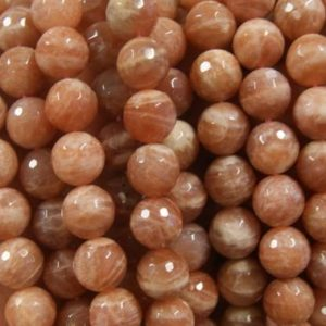 10mm faceted round sunstone gemstone beads -15.5 inch strand | Natural genuine faceted Sunstone beads for beading and jewelry making.  #jewelry #beads #beadedjewelry #diyjewelry #jewelrymaking #beadstore #beading #affiliate #ad
