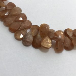Shop Sunstone Faceted Beads! Sunstone Faceted Pears 5x7to8x11mm 8 inches 85 cts/Sunstone/Faceted Pears/Gemstone Beads/ Semiprecious Stone Beads/Loose Strands/Rare Beads. | Natural genuine faceted Sunstone beads for beading and jewelry making.  #jewelry #beads #beadedjewelry #diyjewelry #jewelrymaking #beadstore #beading #affiliate #ad