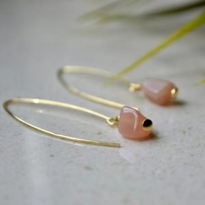 Sunstone open hoop earrings – delicate gemstone earrings Gold Vermeil, Pastel orange crystal earrings, womens Hoops raw crystal earrings | Natural genuine Gemstone earrings. Buy crystal jewelry, handmade handcrafted artisan jewelry for women.  Unique handmade gift ideas. #jewelry #beadedearrings #beadedjewelry #gift #shopping #handmadejewelry #fashion #style #product #earrings #affiliate #ad