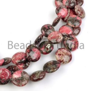 Thulite Plain Coin Shape Gemstone Beads, Thulite Coin Beads, Thulite Smooth Beads, Thulite Plain Coin Beads, Thulite Plain Beads | Natural genuine other-shape Gemstone beads for beading and jewelry making.  #jewelry #beads #beadedjewelry #diyjewelry #jewelrymaking #beadstore #beading #affiliate #ad